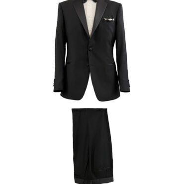 CB91301 - Black, Stretch, 100% Wool, Satin Lapel