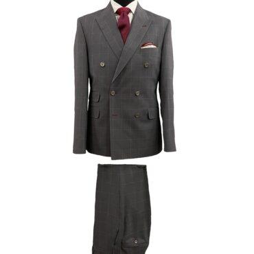 CG21247 - Grey/Red Windowpane, 100% Wool