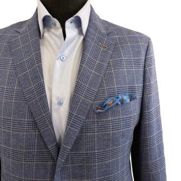 CN51247 - Blue Plaid, 74% Wool, 14% Silk, 12% Linen