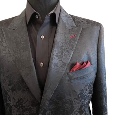 EB13104 - Black Floral, 73% Wool, 27% Silk, $925