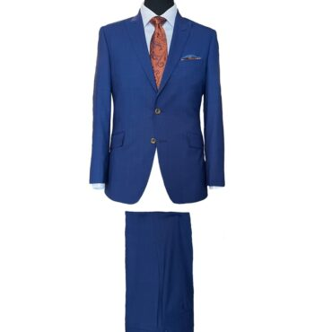 EN07703 - Blue Glen Plaid Bi-Natural Stretch, 100% Wool