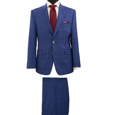 EN07704 - Blue Plaid Stretch, 91% Wool, 8% Mohair, 1% Lycra