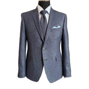 EN53757 - Light Blue/Navy Check, 75% Wool, 15% Silk, 10% Linen