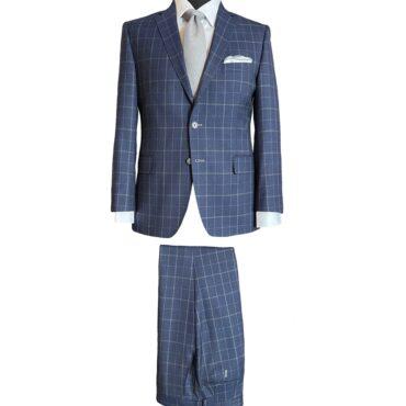 EN53847 - Navy/Grey Plaid, 100% Wool