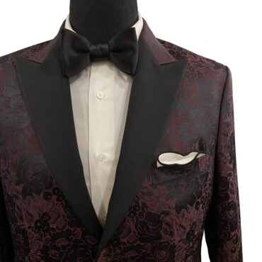 EO43255 - Tuxedo Style, Burgundy Floral, 73% Wool, 27% Silk, $950