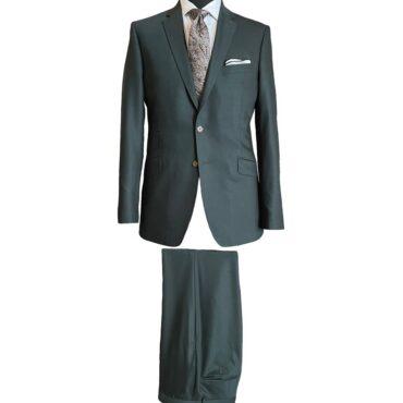 EO90112 - Dark Green Solid Travel Stretch, 98% Wool, 2% Elastane