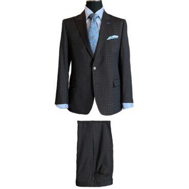 ER33116 - Brown/Blue Mini Windowpane, 100% Wool